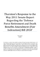 Thornton's Response to the May 2011 Senate Report Regarding the 'Defence Force Retirement and Death Benefits Amendment (Fair Indexation) Bill 2010'